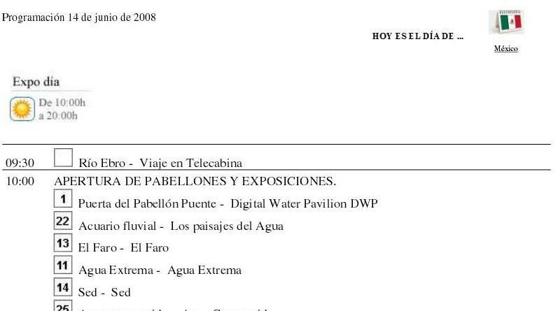 Programas diarios expo 2008
